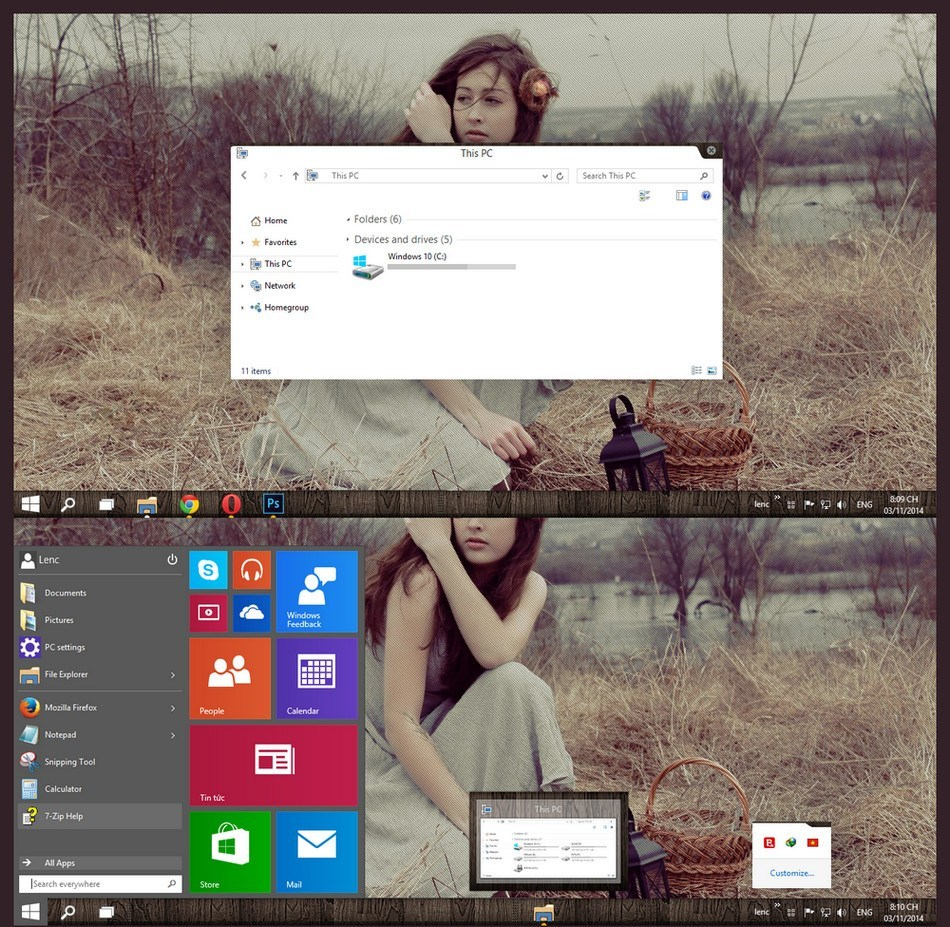 theme windows 10 technical